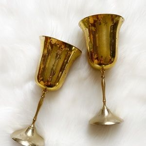Vintage Pair of Brass Goblets